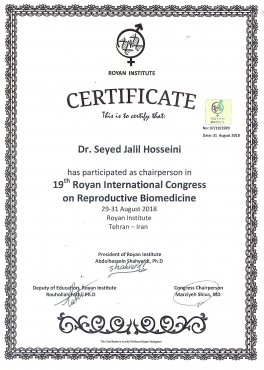 Chairperson 19th Royan International Congress - Reproductive Biomedicine ( 29-31 August 2018)-.